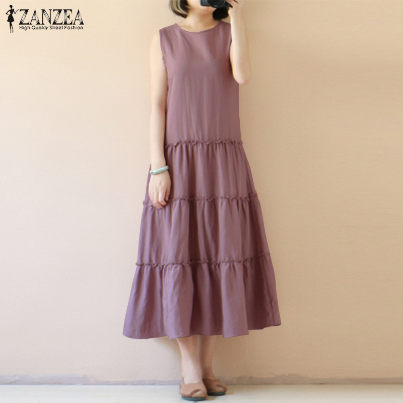 2018 Plus Size ZANZEA Summer Casual Women Solid O Neck Sleeveless Cotton Linen Pleated Loose Long Dress Party Tanks Vest Vestido