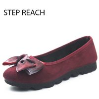 STEPREACH Brand Shoes Woman Winter Boots Flat Round Toe Short Plush Comfortable Slip On Ankle Boots