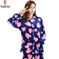 2017 Long Sleeved Heart Print Sleepwear Femme Pijamas Pants Pyjamas Women Flannel Adults Winter Warm Pajama
