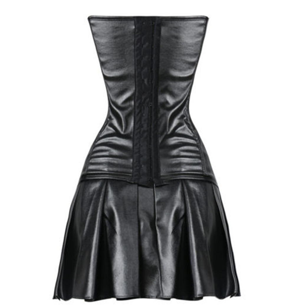 7e4d00ef7013 Gothic black faux leather zipper corset dress steampunk waist cincher  bustier clubwear clothing with mini skirt+chains-in Bustiers & Corsets from  Underwear ...
