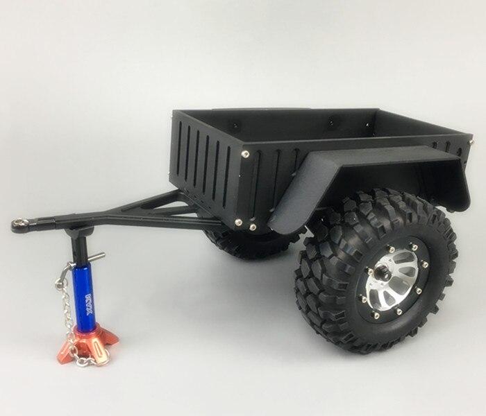 цена на 1Set DIY Mini Trailer CNC Aluminum Truck Trailer with Wheels Tires for 1/10 Model Car Modification Parts