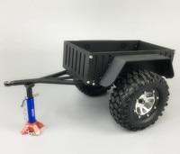 1Set DIY Mini Trailer CNC Aluminum Truck Trailer with Wheels Tires for 1/10 Model Car Modification Parts