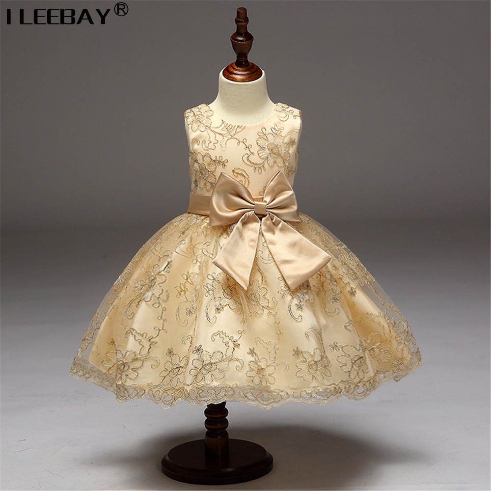Girls Flower Dresses for Wedding Girl Bridesmaid Princess Dress with Bow Children Embroidery Gown Kids Party Clothing Vestidoes new fashion embroidery flower big girls princess dress summer kids dresses for wedding and party baby girl lace dress cute bow