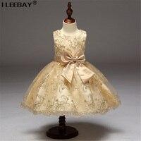 Mädchen Blume Kleider für Hochzeit Mädchen Brautjungfer Prinzessin Kleid mit Schleife Kinder Stickerei Kleid Bekleidung Vestidoes