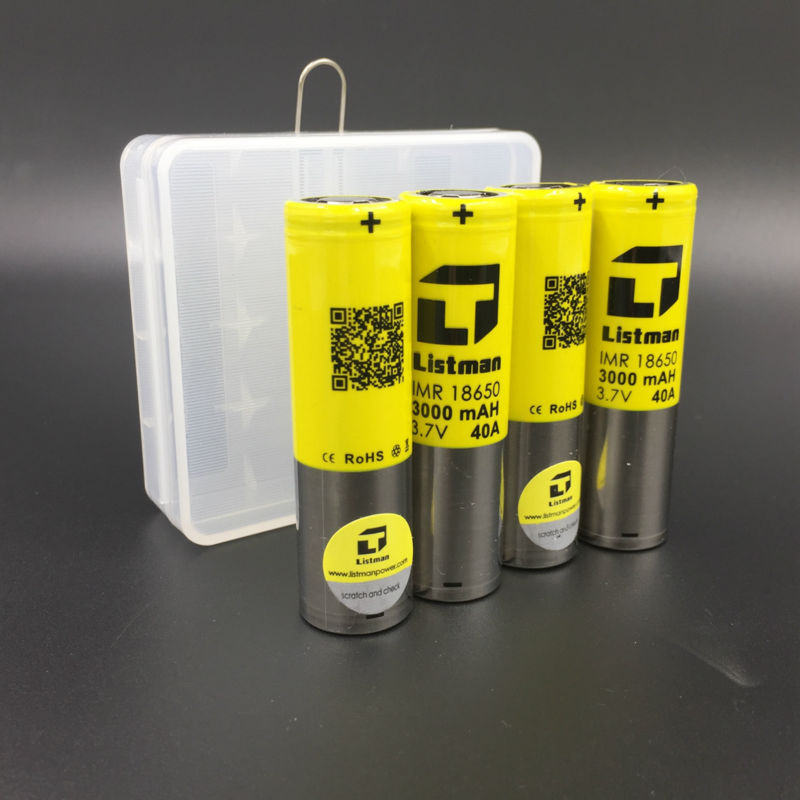 18650 Battery Listman 3000mah Rechargeable batteries for Electronic Cigarette Box Mod LG HG2 HE4 High Quality battery case gift masterfire wholesale 100% original lgdbhe41865 2500mah he4 battery 18650 3 7v power electronic batteries 20a discharge for lg