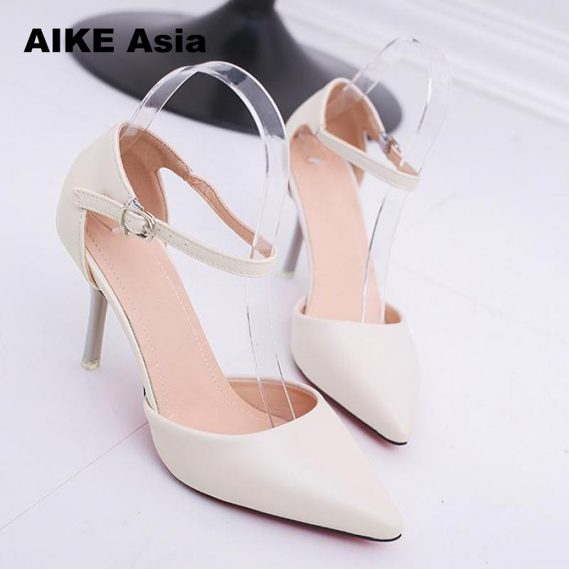 Plus Size 32-42 Women's Pumps Pointed Toe Patent Leather High Heels Sexy Ankle Strap Ladies Party Wedding Shoes Silver Red Beige