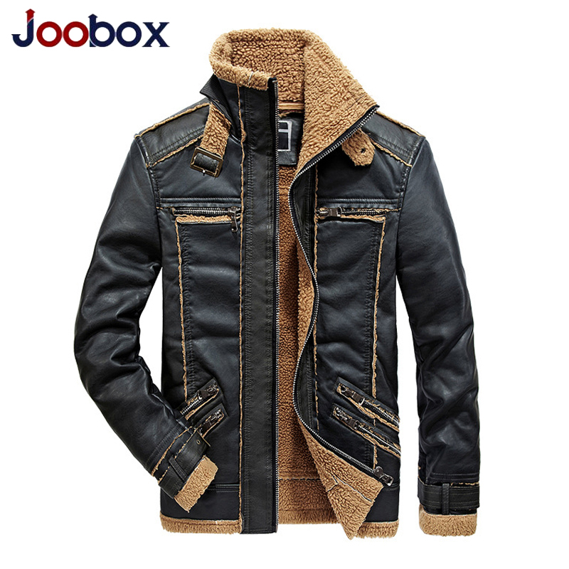 JOOBOX Men Winter Leather Jacket Coat Faux Fur Warm Thick Air Force Casual Motorcycle Plus Size 3XL Khaki leather Jacket Coats