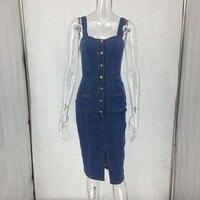 Women front split long jean skirt overalls denim overalls