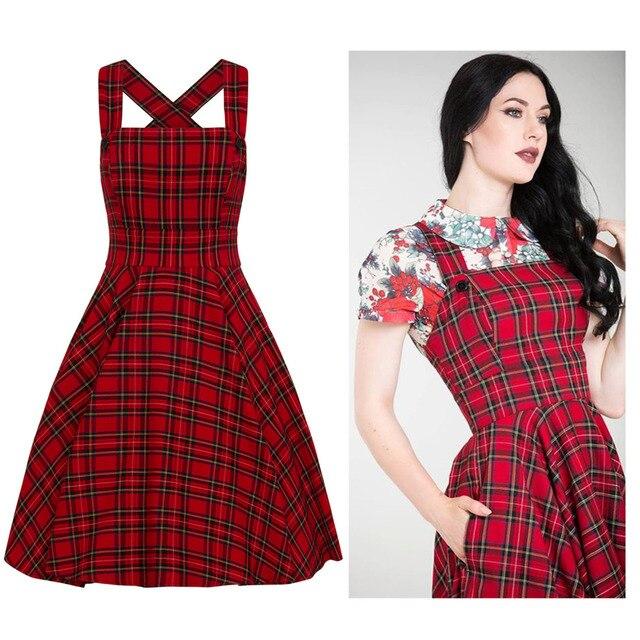 70405e38f6f06 30- winter women vintage 40s Peebles Pinafore tartan dress in red  rockabilly pinup brace swing dresses plus size vestidos