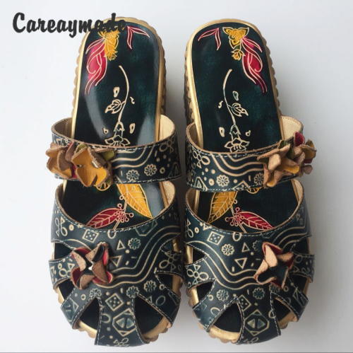 Careaymade-Folk style Head layer cowhide pure handmade Carved shoes, the retro art mori girl shoes,Women's casual Sandals958-1 huifengazurrcs new pure handmade casual