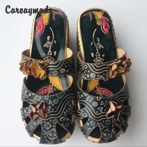 Careaymade folk style 헤드 레이어 소 가죽 순수한 수제 새겨진 신발, 레트로 아트 모리 걸 신발, 여성 캐주얼 Sandals958 1-에서슬리퍼부터 신발 의  그룹 1