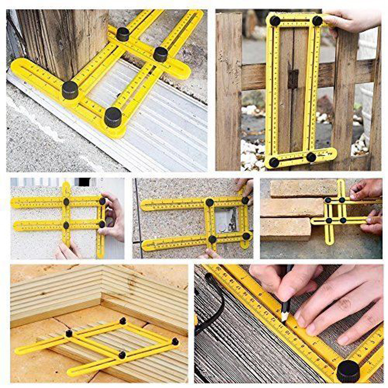 Foldable Universal Four-side Ruler Multi Angle Measuring Tool Ultimate Template Multi Angle Ruler Yellow/Blue/Red 0-25cm universal 25cm page 3