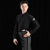 Man Latin Dance Shirts Long Sleeve Black Clothes Male Rumba Samba Dancing Competition Performance Wear Standard Dance DQS1861