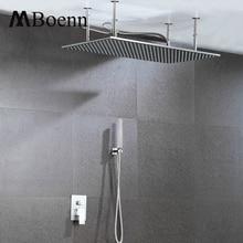 Фотография Big Bathroom Ceiling Mounted Hot Cold Control Valve Shower Set LED Shower Head Rainfall Brushed Shower Faucets Sets Rain Showers