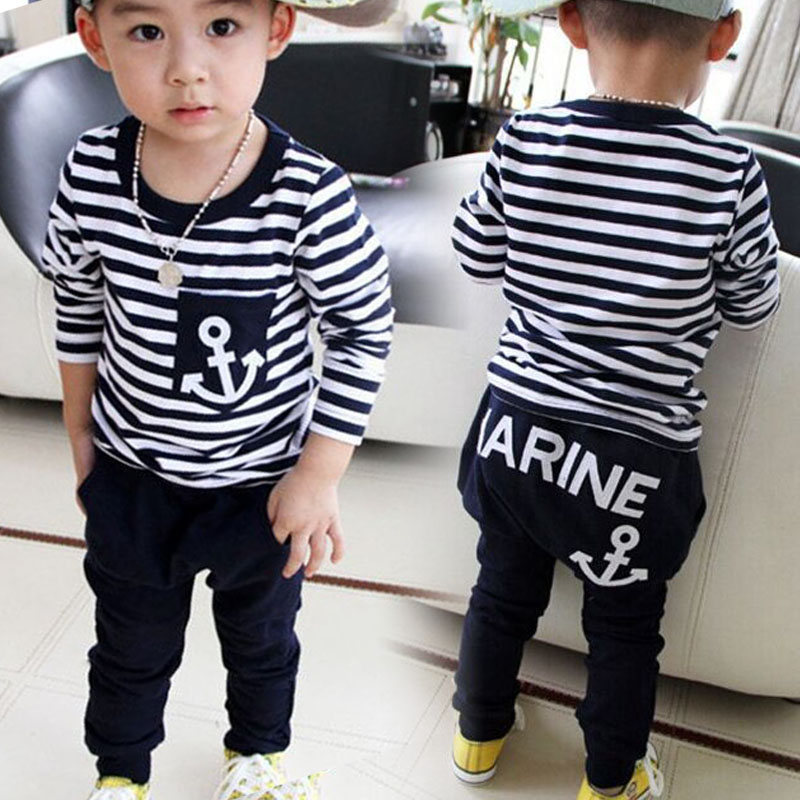 2016 New Spring Kids Clothes Navy Long Sleeve Pullover Striped Sports Suit Casual Boys Clothing Set YH-17
