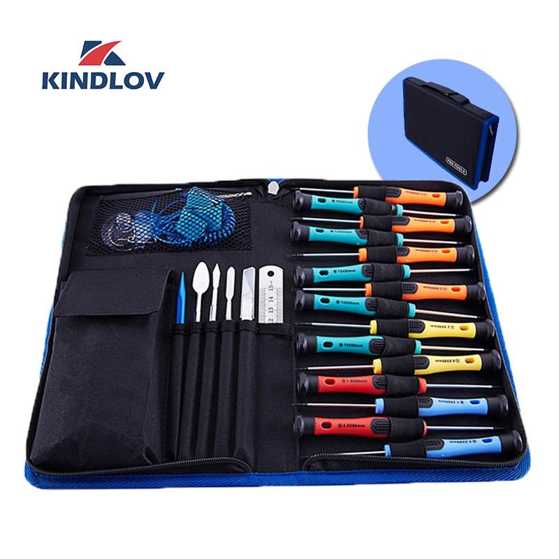 KINDLOV Screwdriver Set 33 In 1 CR V Parafusadeira Precision Screw Driver Magnetic Handle Torx Hex Bits Kit Insulated Hand Tools