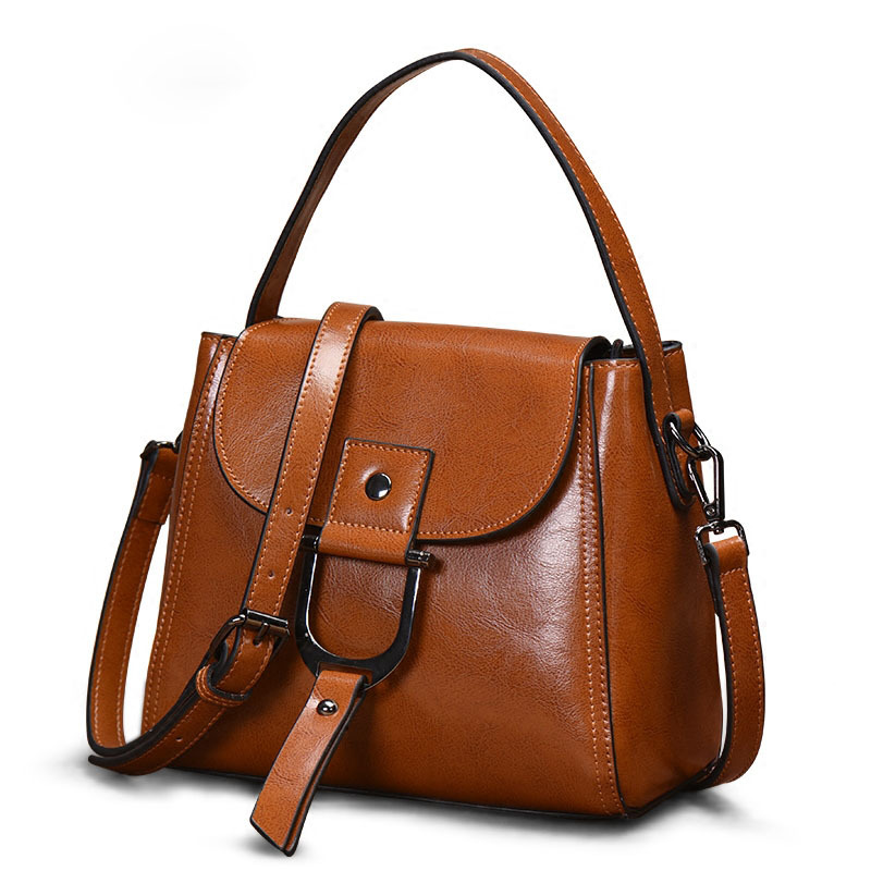 New Female Bag Oil Wax Layer Leather Handbag Leather Messenger Shoulder Bag aetoo the new oil wax cow leather bags real leather bag fashion in europe and america big capacity of the bag