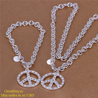 925 S014 Free Shipping Jewelry Sets Silver Peace Sign Pendant Chain Necklace And Bracelet Factory Price