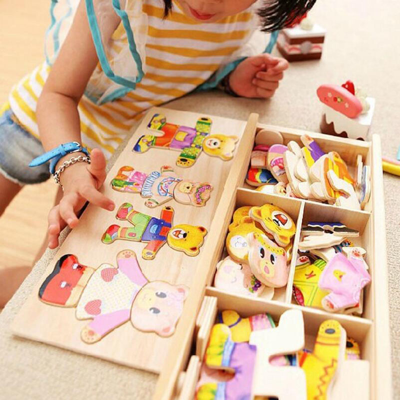 Educational Building Blocks Baby Bear Change Clothes  Toys Early Childhood Wooden Jigsaw Gift Toys Model Kits children s early childhood educational toys the bear change clothes play toys creative wooden jigsaw puzzle girls toys