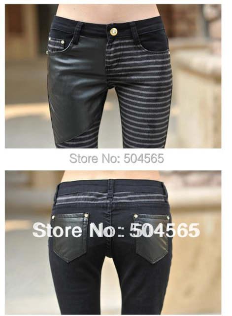 e543e4091ec Women  PU Leather Patchwork Jeans Pants Fashion Zippers Boots Trousers  Pencil Pants Plus Size PT