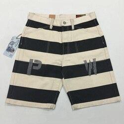 2018 Bob Dong Vintage PW Stampa Prison Shorts Moto Biker 16oz Strisce Shorts Per Gli Uomini 38