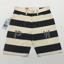 BOB DONG Prisoner of War Print Shorts 16oz Canvas Black White Stripes Men Pants