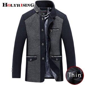 Image 3 - Holyrising mannen jas winter wol caot erkek kaban Fashion Business Thicken Slim Overjas Jas Mannelijke Peacoat Merk Kleding 18703