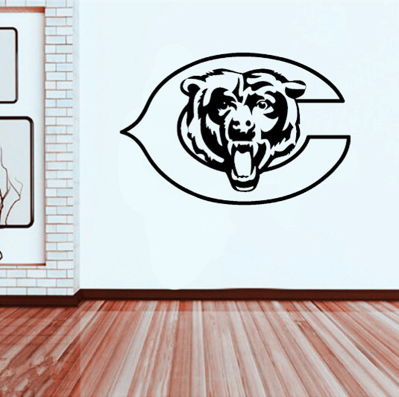Beautiful Large Size Chicago Bears Vinyl Wall Sticker For Kids Room Decor,M2S1(China ( Part 21
