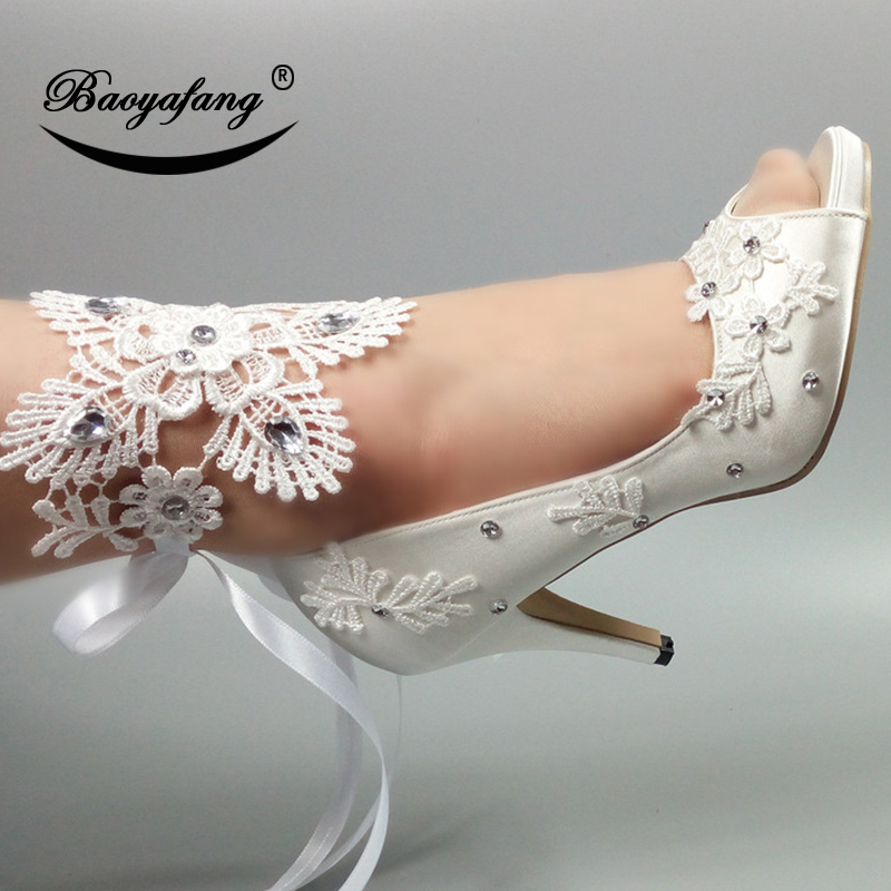 BaoYaFang New Women wedding shoes Peep Toe white lace shoes pearl Ladies party Dress shoes woman