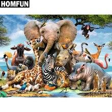 """HOMFUN 3D DIY Алмазная вышивка """"Слон лес"""" картина, стразы, алмазная живопись, вышивка крестиком, рукоделие, декор A00698"""