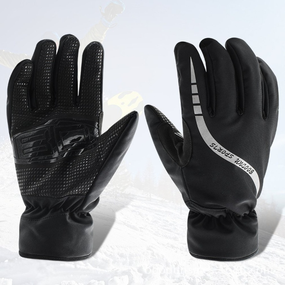M-L Winter Adults Skiing Gloves Windproof Non-slip Outdoor Skating Snowboard Gloves With Reflective Tape Warm Mittens Gloves