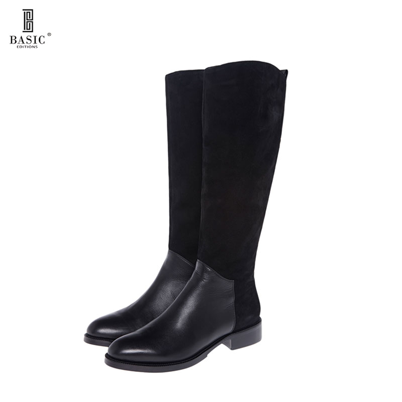 BASIC EDITIONS Spring Autumn Genuine Leather Women Stacked Heel Mid Calf Suede Upper Boots - T22-161 basic editions women dark grey suede leather spike high heel chain accessories winter long boots 1105 1422 aj91