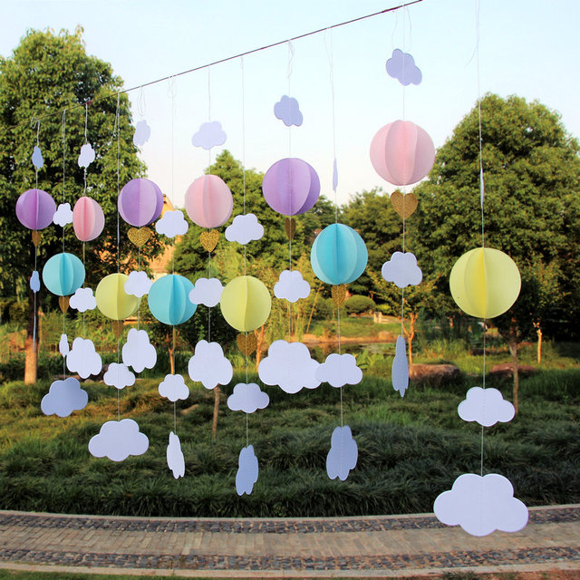 3d Clouds Hot Air Balloons Garland Birthday Party And Baby Shower
