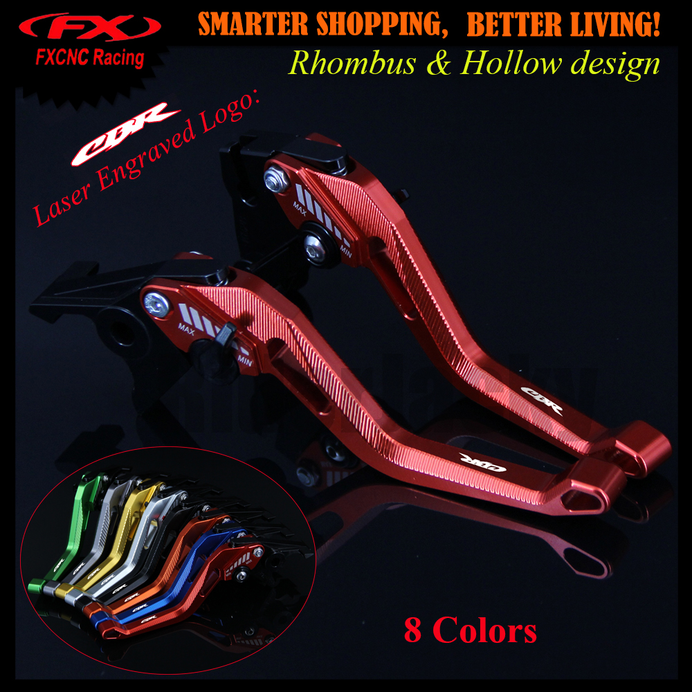 New 3D Rhombus Hollow Design patent For Honda CBR250R CBR 250R 2011-2013 2012 Red Motorcycle CNC Brake Clutch Levers With Logo