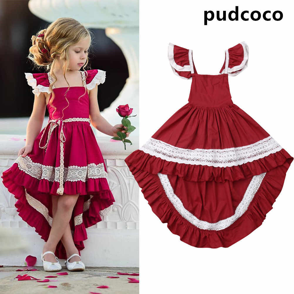Baby Girl Dress Toddler Kids Girl Ruffle Lace Dress Sleeveless Party Pageant Dress Christmas Size 1-6Y