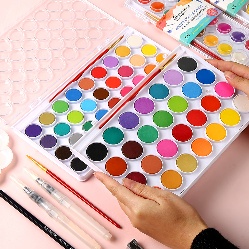 BGLN Solid Water Color Painting Set 12/16/24/28/36Colors Bright Color Portable Watercolor Pigment Powder Set For Kids Students