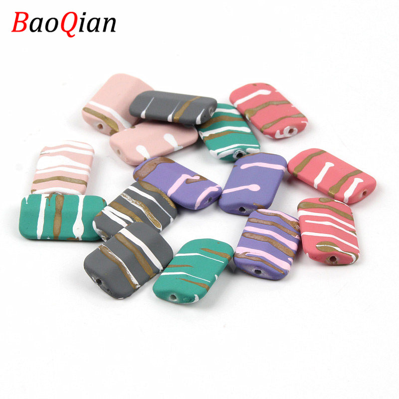 20PCS Striped Acrylic Beads DIY Rectangle Mixed Color Beads Made Earrings Necklace Jewelry Accessories 12x18mm(China)