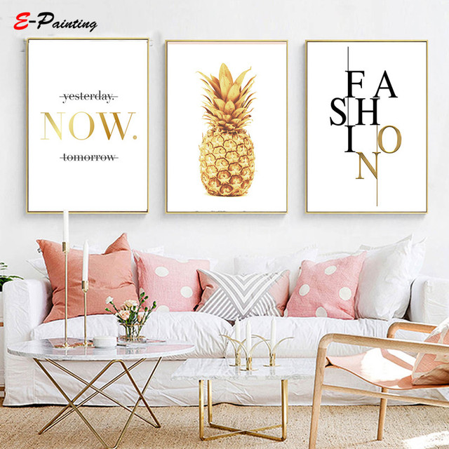 Canvas Art Pineapple Nordic Poster and Prints Minimalist Wall Painting Picture for Living Room Home Decor