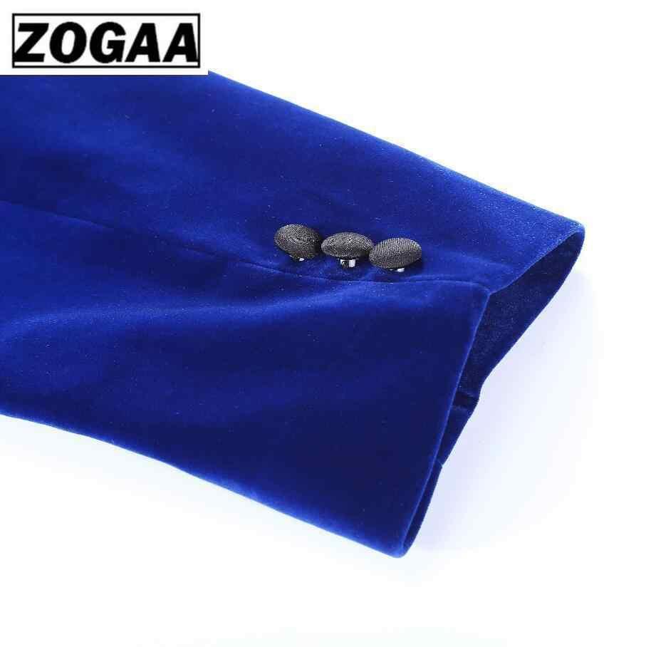 ZOGAA 2019 メンズ古典的な 3 枚セットベルベットスーツスタイリッシュなブルゴーニュロイヤルブルー黒結婚式新郎スリムフィットタキシードウエディングスーツ衣装