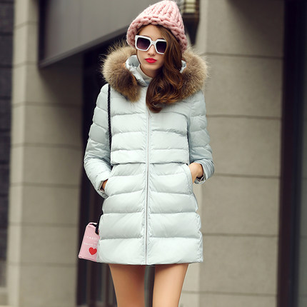 2016 new hot winter Thicken woman Down jacket Coats Parkas Outerwear Hooded Raccoon Fur collar long plus size XL High end  Slim цены онлайн