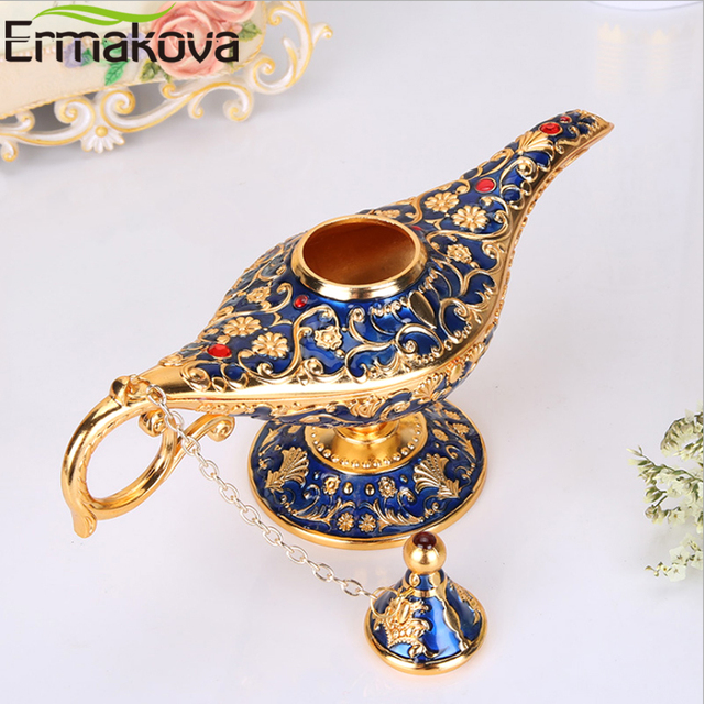 ERMAKOVA Large size Colorful Metal Genie Magic Lamp Retro Wishing Oil Lamp Pot Incense Burner Home Decor Collection Souvenir 3