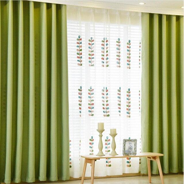 US $14.22 30% di SCONTO|Tende di lino per la Camera Da Letto Soggiorno  Cucina Colori Solidi Finestra di Blackout Pesante Tende Verde Tessuti Per  La ...
