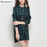 Shirt Plaid Stand Collar Ruffles Three Quarter Sleeves Irregular Hem Spring Autumn Womens Tops Blouses Plus