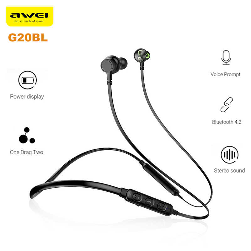detail feedback questions about original awei g20bl dual drivers original awei g20bl dual drivers wireless bluetooth headphones stereo hifi music neckband sports earbuds support hands
