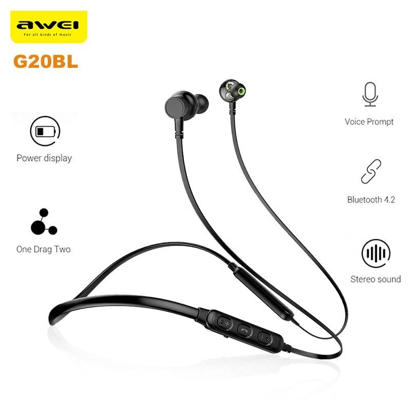 Original Awei G20BL Dual Treiber Wireless Bluetooth Kopfhörer Stereo Hifi Musik Neckband Sport Ohrhörer Unterstützung Hände-freies Anruf