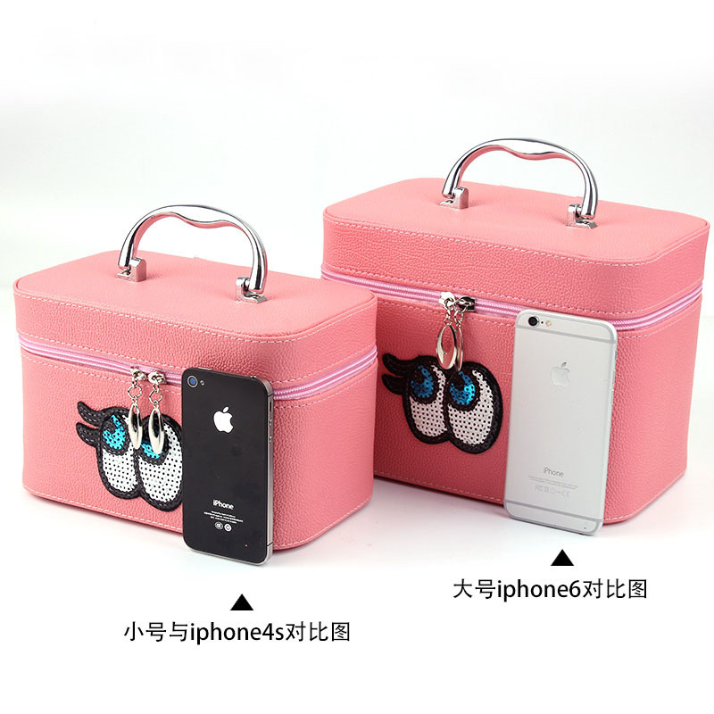 Cute Cartoon Eyes Pu Leather Makeup Box Female Tote Bag Large Capacity Cosmetic Case Whole In Bags Cases From Luggage
