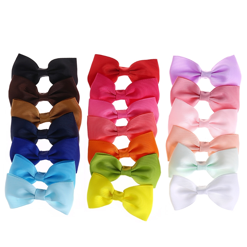 Free Shipping 20Pcs Baby Girl Kids Hair Pins Bow Boutique Alligator Clip Grosgrain Ribbon Bowknot
