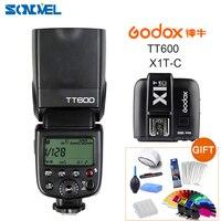 Godox TT600 2.4G Wireless Camera Flash Speedlite + Godox X1T CTransmitter TTL Wireless Remote Flash Trigger for Canon