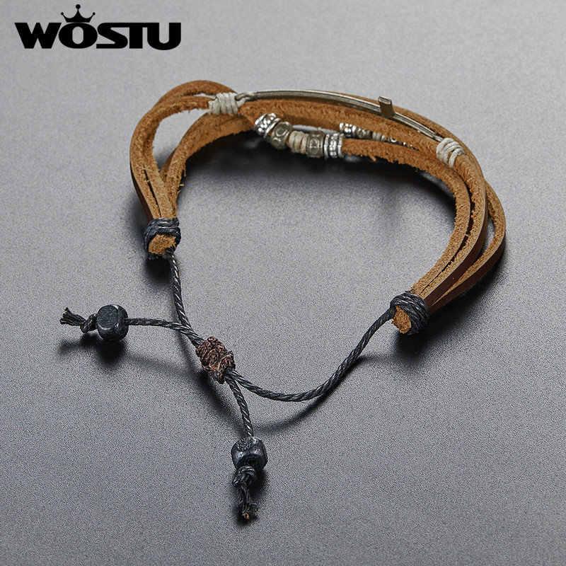 WOSTU prawdziwe skórzane krzyż bransoletki bransoletki rozmiar regulowany liny łańcuch skórzana bransoletka w stylu Vintage dla kobiet mężczyzn biżuteria prezent FC0353