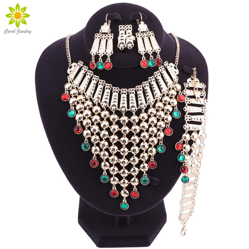 African Beads Jewelry Sets Gold Color Nigeria Wedding Beads Dubai Fashion Chunky Jewellery Set Statement Necklace Earrings Set